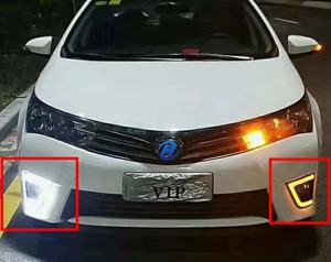 DRL For Toyota Corolla 2014 2015 2016 LED Daytime Running Lights with yellow turn signal night blue Head Fog Lamp cover