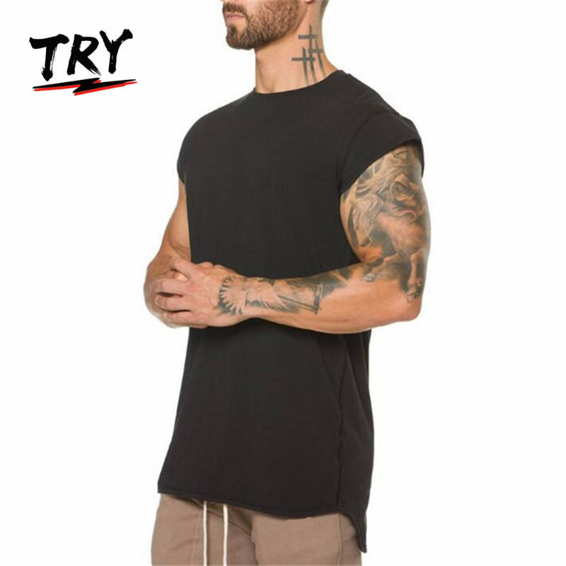95% cotton 5% spandex sportswear for gym fitness running black blank sleeveless tee men's t-shirts
