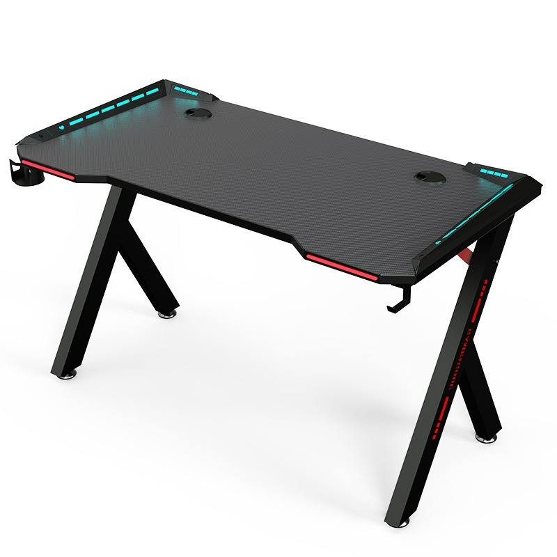 Internet Cafe Black Steel Frame Pc Gaming Desk RGB Light Office Gaming Table