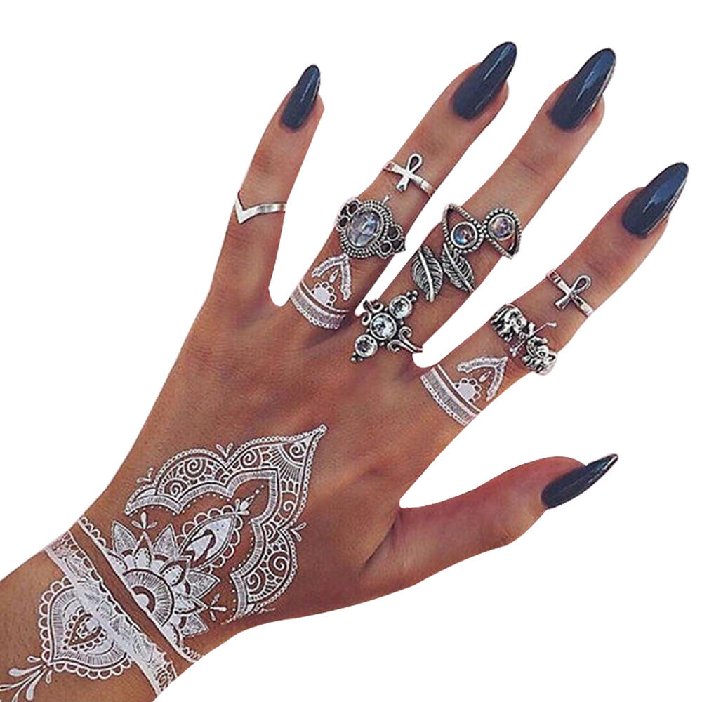 White lace&black lace temporary india henna tattoo stencil