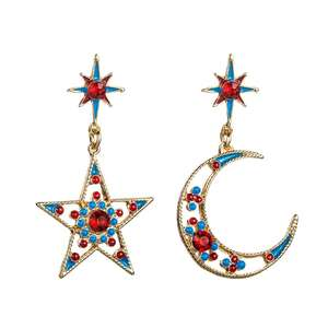 VRIUA Asymmetric Rhinestone Moon Crescent Star Stud Earrings For Women Colorful Crystal Party Statement Post Earrings