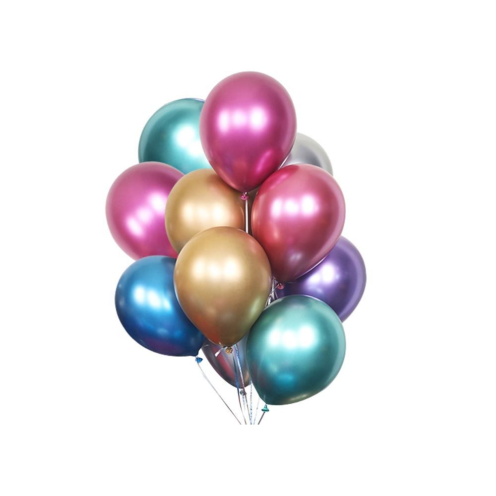 Party dekorationen Ballon Biologisch abbaubare Latex Runde Metall Chrom Helium Globos
