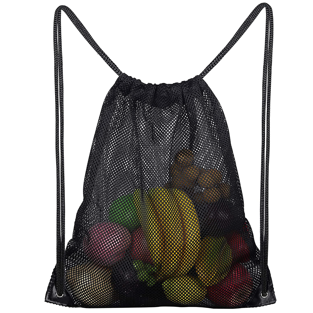 Wholesale Custom Logo Print Durable Strap Polyester Fabric Outdoor Gym Sport Training Storage Waterproof Mesh Drawstring Bag