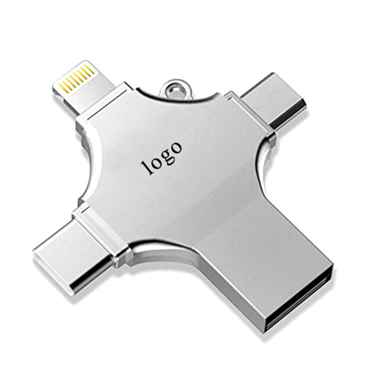 2019 Customized Logo 8G 16G 32G 4 In 1 Otg 3.0 Usb Memory Flash Drive For Type-C / Lightning/ Micro Usb / Computer