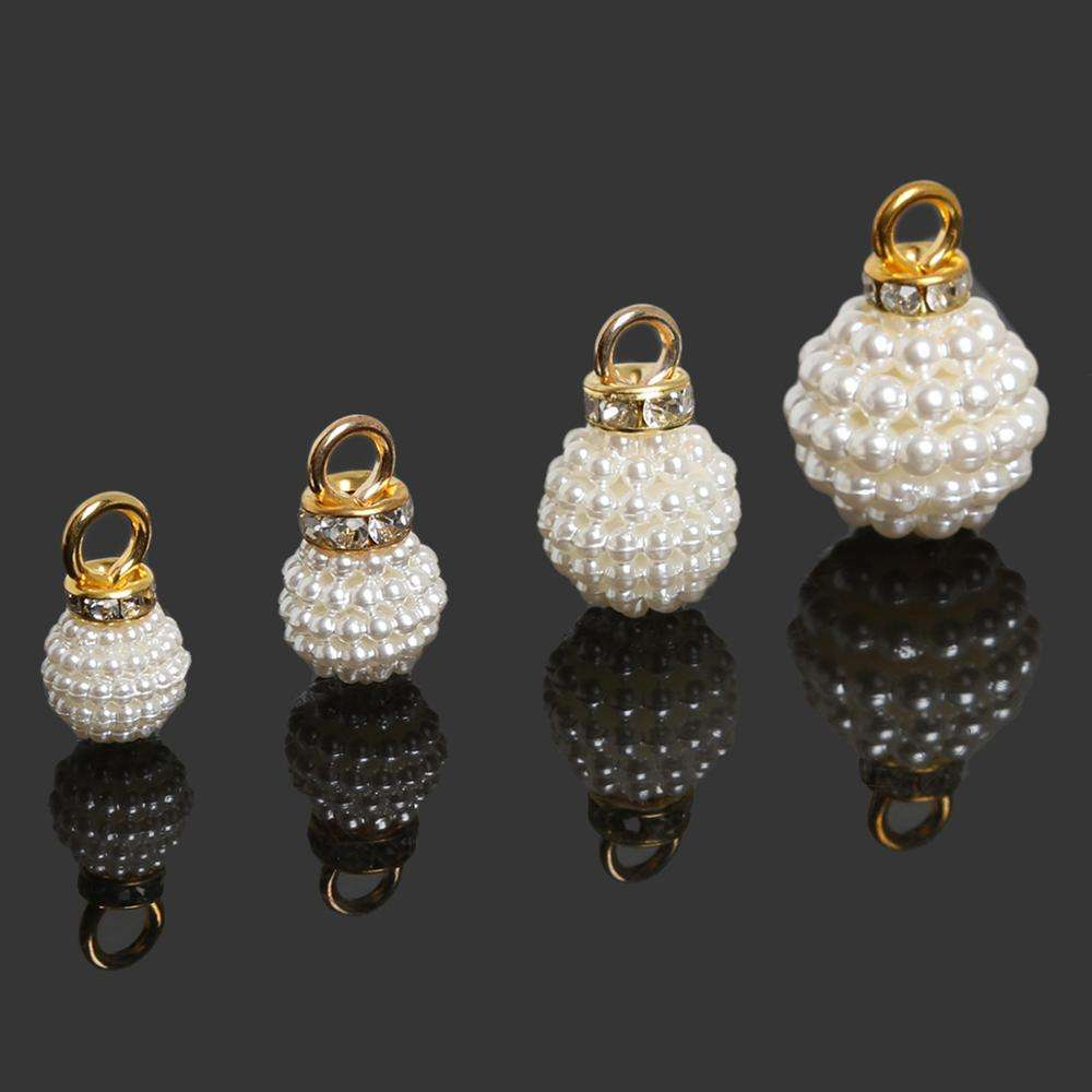 Different Size Metal Shank 10mm Button Bayberry Shape Pearl Button Rhinestone Csytal Pearl Button