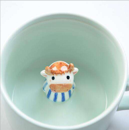 Keramik Kuh becher in Kuh Design Tasse 3D Cute Cartoon Miniatur Tier figur Keramik Kaffeetasse