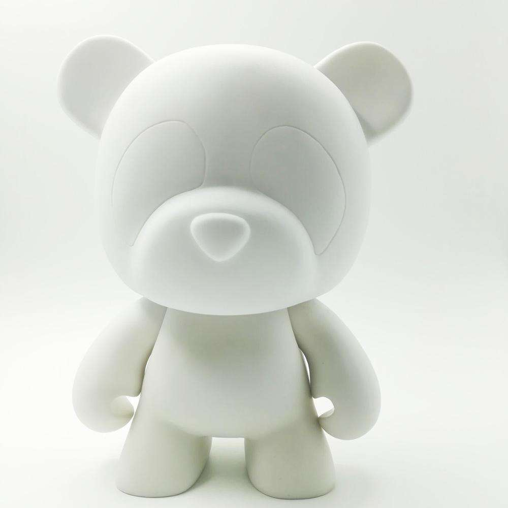 mini bear shape diy vinyl toy, custom cartoon animal art painting vinyl figure, white colour blank vinyl toy figure