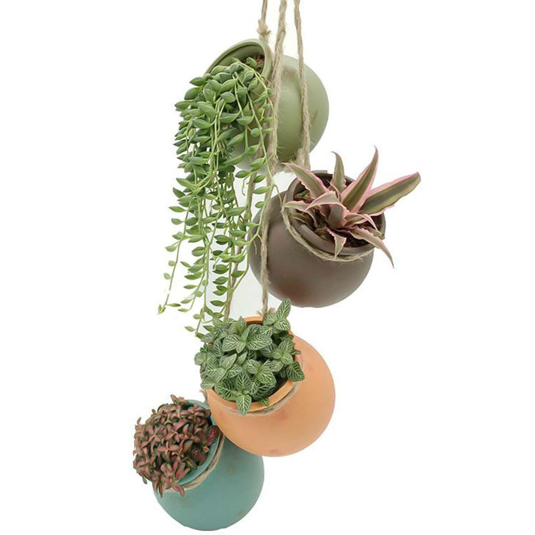 4 Sets Ceramic Hanging Mini Flower Planters, Wall or Ceiling Mount - Dangling Container in Earth Tone Colored for Indoor Outdoor