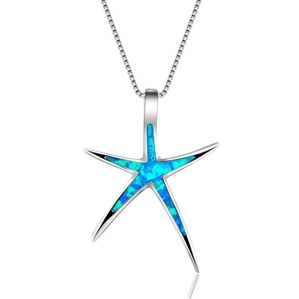 2020 hot sale Ocean Blue Opal Starfish Pendant Necklace For Women Girl Accessories
