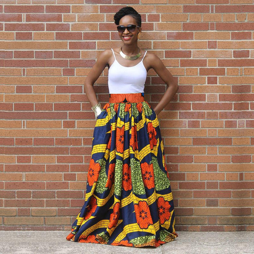 Women's Long Pleated African Printed A line Floor-length Skirts