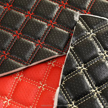 Embroidery Perforated PVC leather for beds upholstery