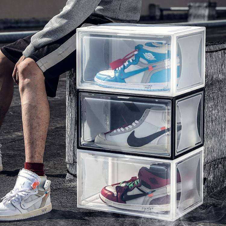 Transparent Clear Plastic Stackable Shoes Storage Box Drawer