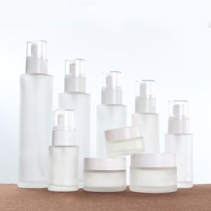 White Glass Frosted Cosmetic Packing Lotion Spray Bottle Cream Jar with White Cap