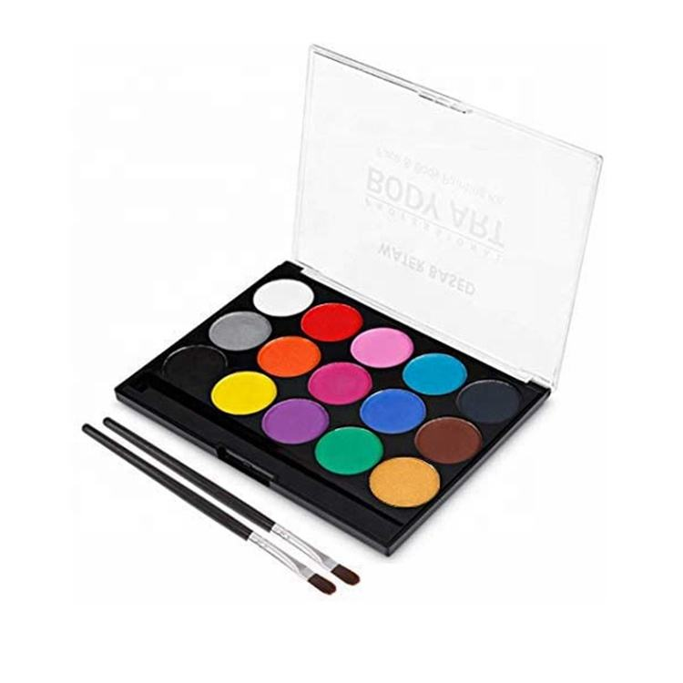 Birthday Gift 15 Colors Palette Halloween Makeup Party Face Paint Kit Set for Kids and Adults