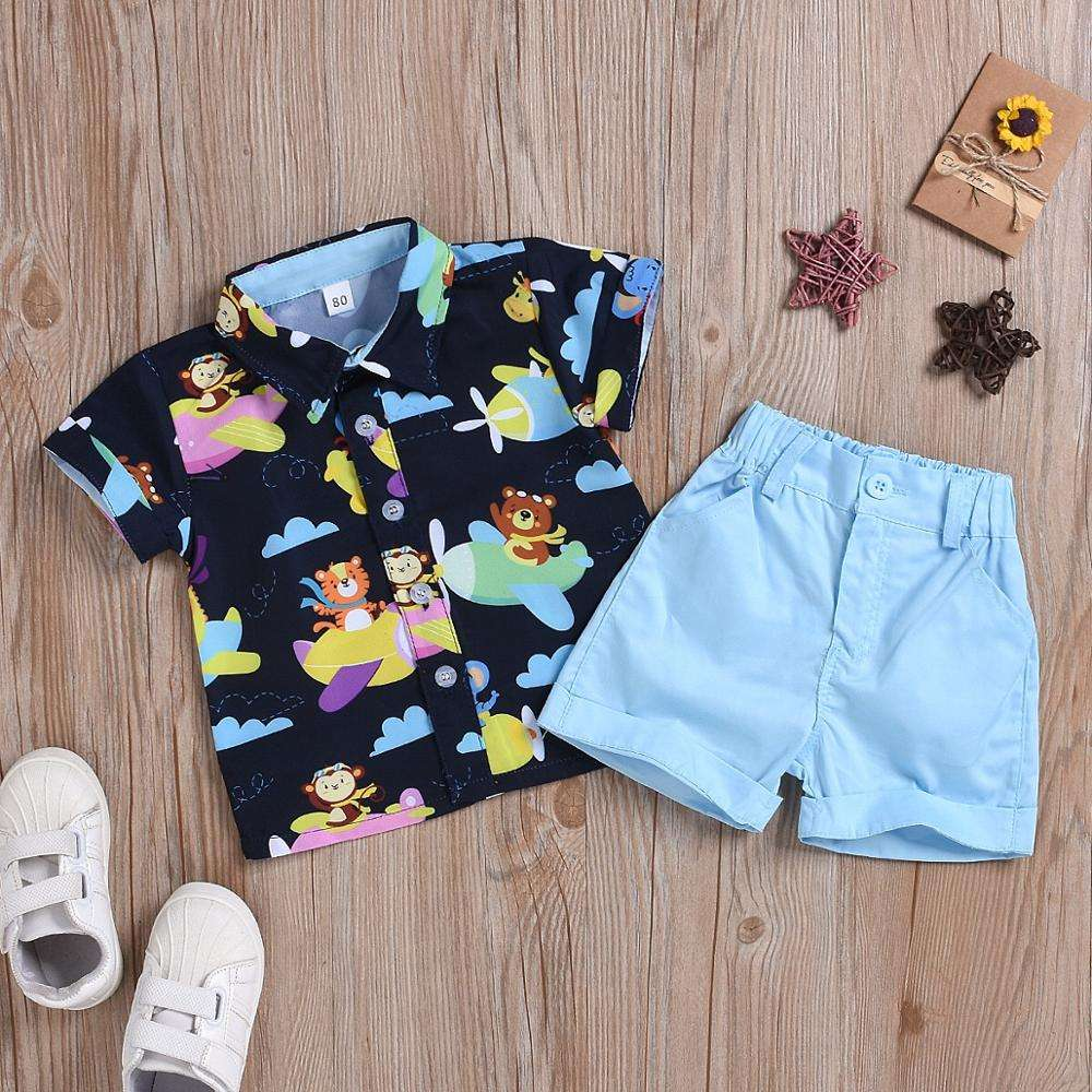 New arrival baby boys summer clothing set boutique boys holiday shirt and shorts 2 pcs clothes set