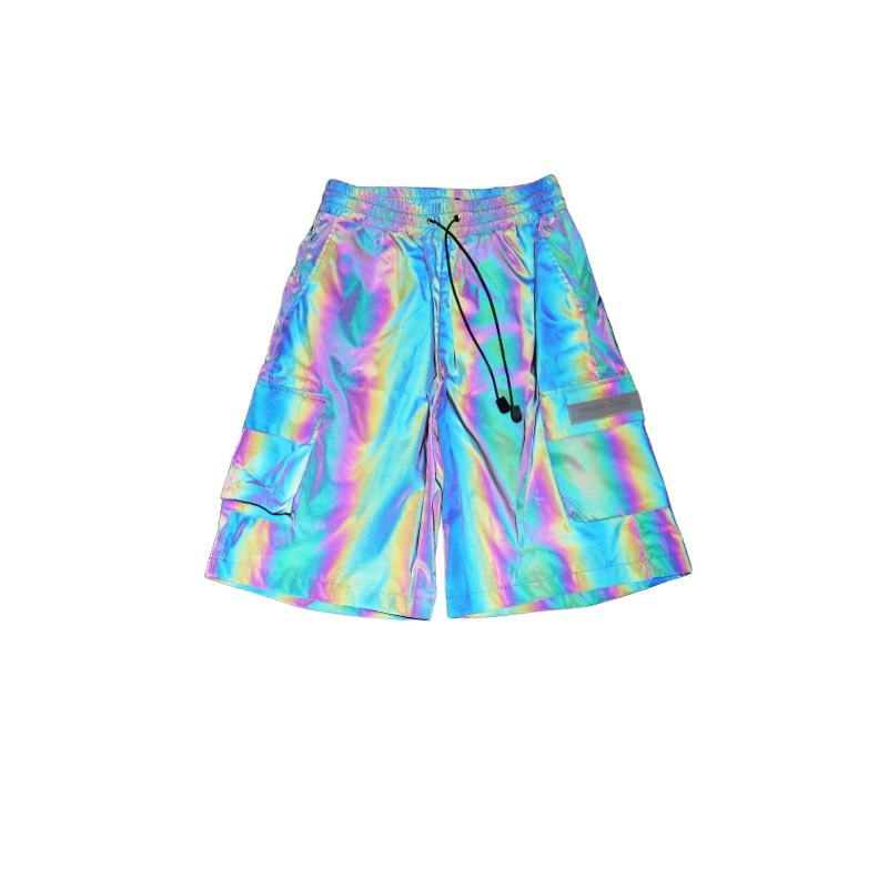 New Fashion Metallic Man Shorts Magical Bright Leather Swimming Trunks Laser Printer for Clothes Holographic Shorts