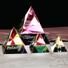 Wholesale Cheap Colorful Pyramid Customized  Laser Engraved Logo  Crystal Pyramid Glass paperweight