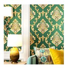 Waterproof European luxury pvc wallpaper green and gold damask designs