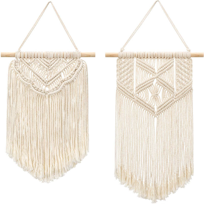 Amazon Hot Sell Small 2 Pcs Macrame Wall Hanging Wall Decoration Living Room Hotel Home