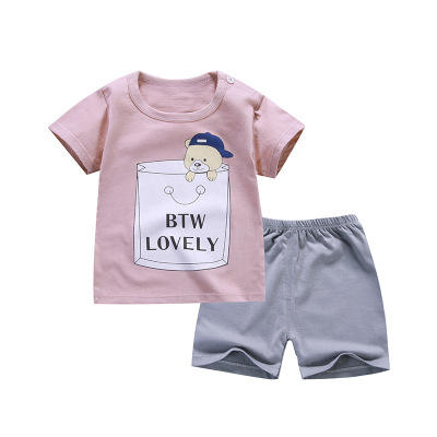 Wholesale summer short sleeve+short pants baby boys' clothing sets 100% cotton baby cloth