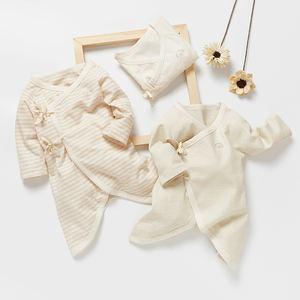 Low MOQ GOTS certified organic cotton newborn baby boy girl bodysuit clothes clothing