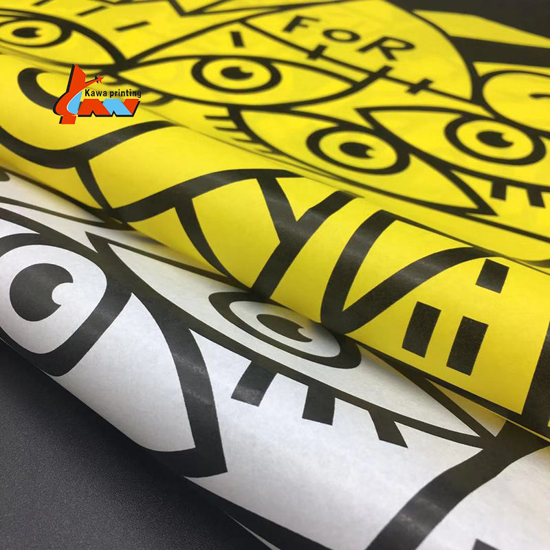 Gift packaging wrapping Yellow silk paper custom logo printed packing paper wrapping tissue paper