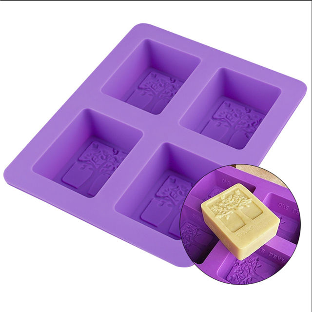 Best selling DIY BPA free soap mould tree shape silicone loaf mold soap