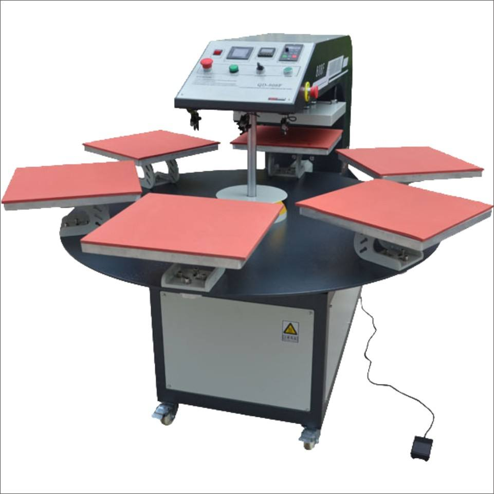 Garment Shops [ Printing Machine T Shirt ] Automatic 4-6worktable Rotary Pneumatic Heat Press Transfer Printing Machine 40x60 60x80 For Industrial Garment T Shirt Fabric