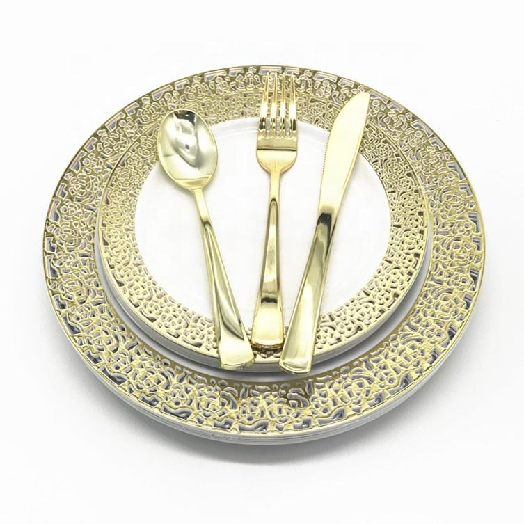 125 Pieces Disposable Gold Plastic Dinnerware Set for Wedding