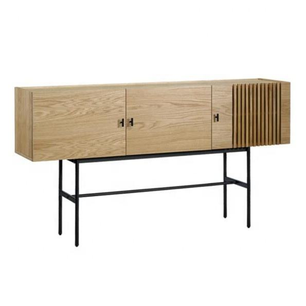 Sideboard Cabinet Wooden Furniture Oak Furniture Concise Style E1 MDF Sideboard Cabinet Black Metal Legs