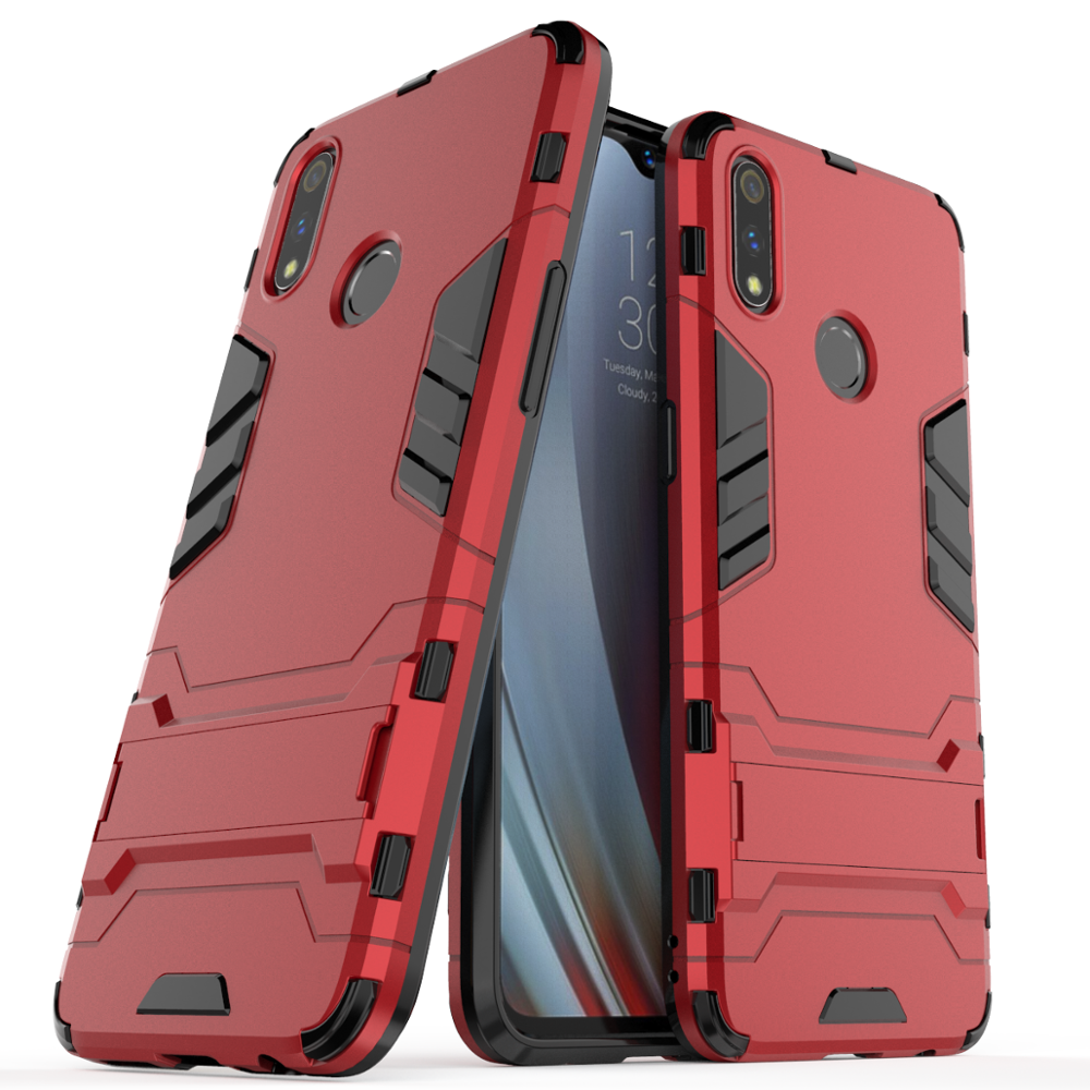 New arrivals shockproof kickstand full protection mobile phone back cover For oppo realme 3 pro cover