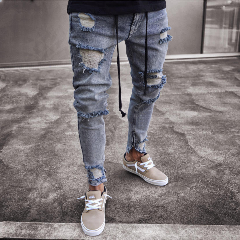 Mens Skinny Jeans Ripped Slim fit Stretch Denim Distress Frayed Biker Scratchted Hollow out Long Jeans Boy Y12744