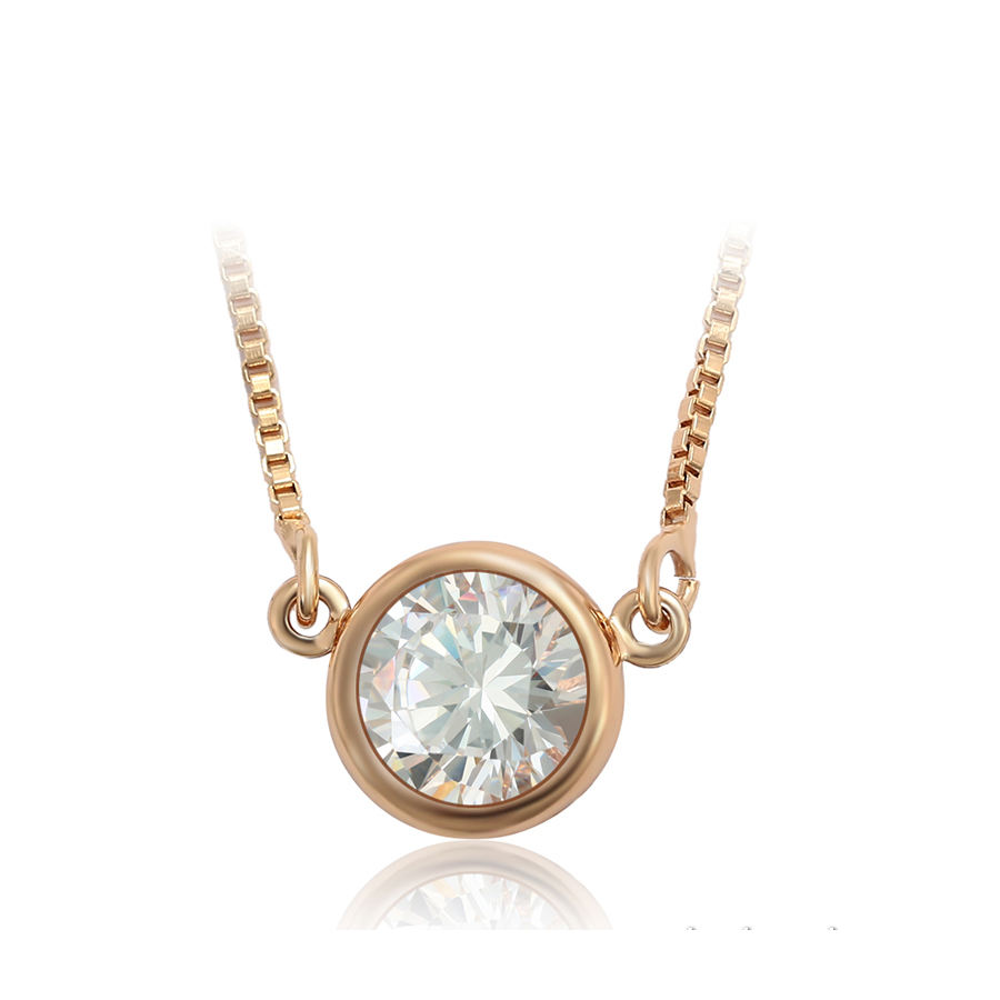 46350 xuping jewelry New Round single zircon bag with minimalist design necklace