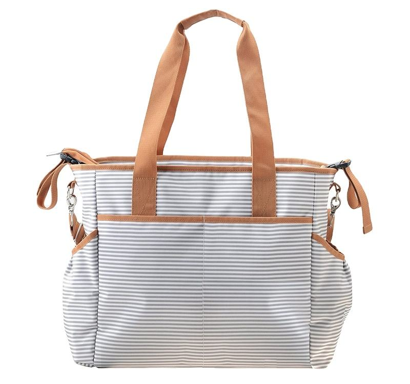 Striped Cotton Baby Diaper Bag Messenger Changing Pad Shoulder Bag Organizer Mommy Handbag