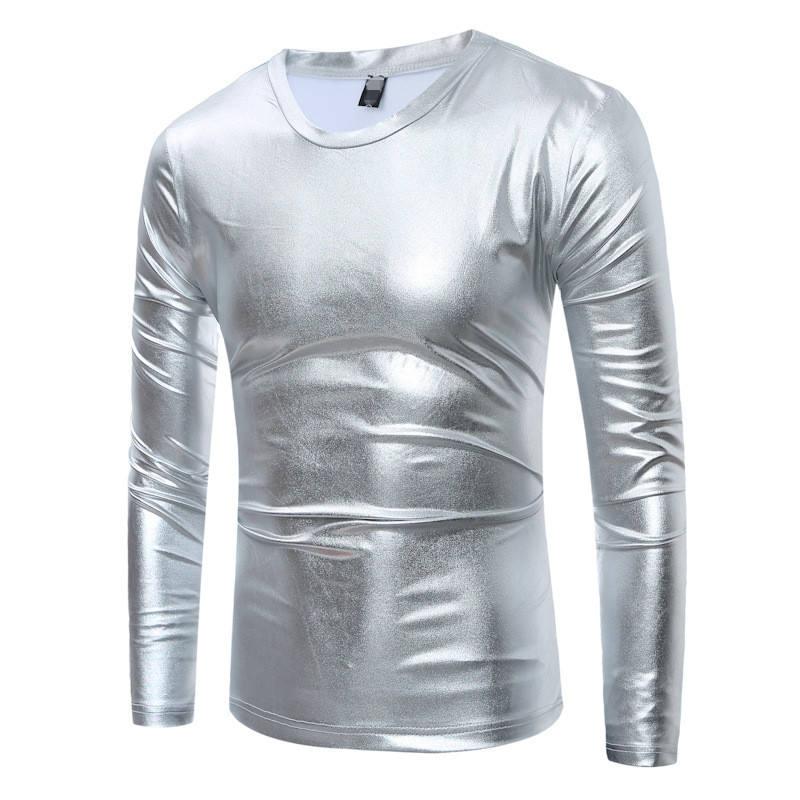 Cool Gold Coated Metallic T-Shirt O Neck Full Sleeve T Shirt For Men Shirt Night Club Man Shiny Gold Hip Hop Tee