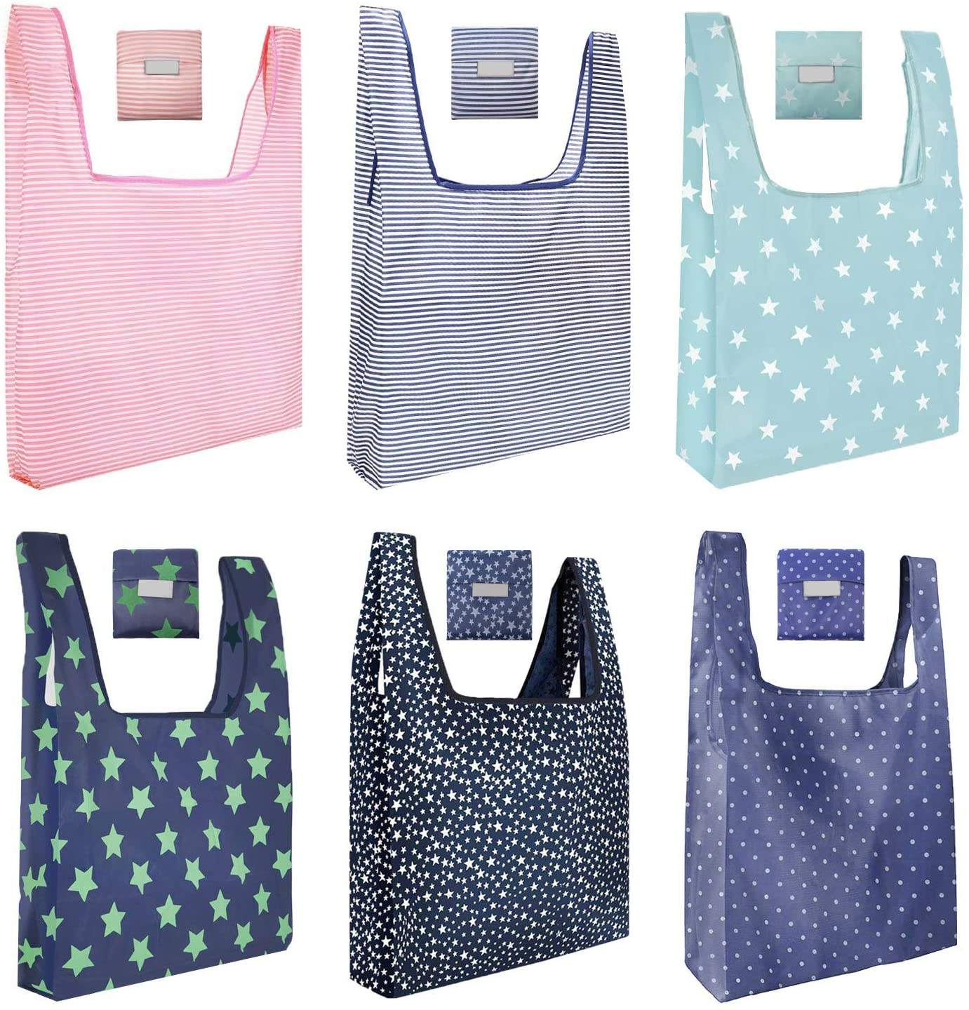 Multifunctional Lightweight Reusable Folding Bag Polyester Bag Customized Size Recycled Supermarket Bag Gifts