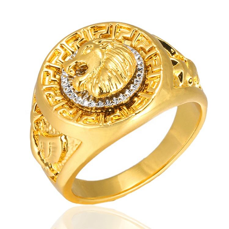Vintage Charm Classic Punk Rock Hip Hop Dubai Gold Rings Mens Jewelry Cool Male Lion Head Rings