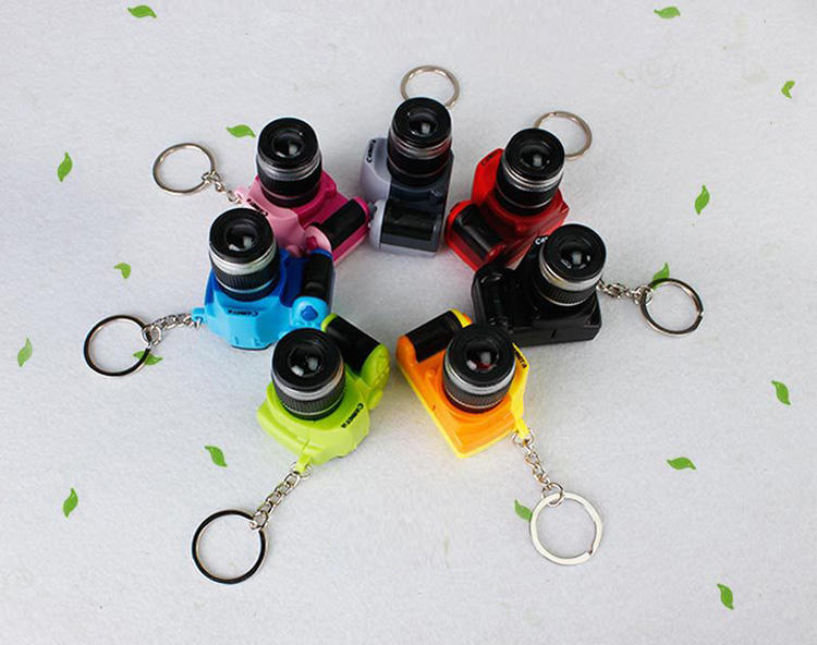 Promotional Gifts Led Mini Toy Single-lens Reflex Camera Keychain with LED Light and Sound keyring