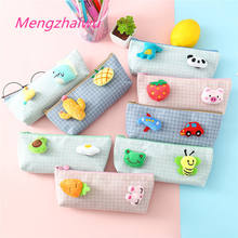 India hot sale buy online cute korean stationery Plush brooch design cartoon pencil case for school kids canbas pen bag kawaii