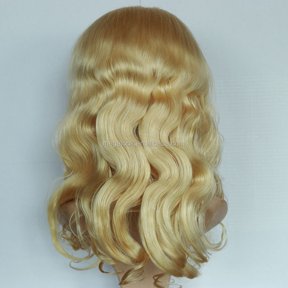 Affordable Silk Top Body Wave Virgin Human Hair 613 Honey Blonde Color Lace Front Wig