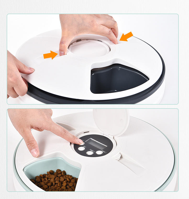 Pet bowl 6-hole Intelligent Feeder Timing Quantitative Music to Remind the Pet Automatic Feeder