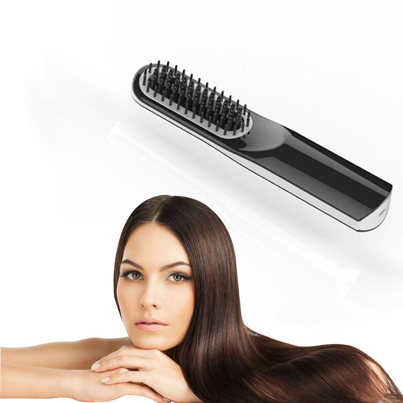 Unisex Hair Styling Tools Fast Heated Hair Straightener LCD Ceramic Cordless Beard Straightening Comb Electric Hair Brush