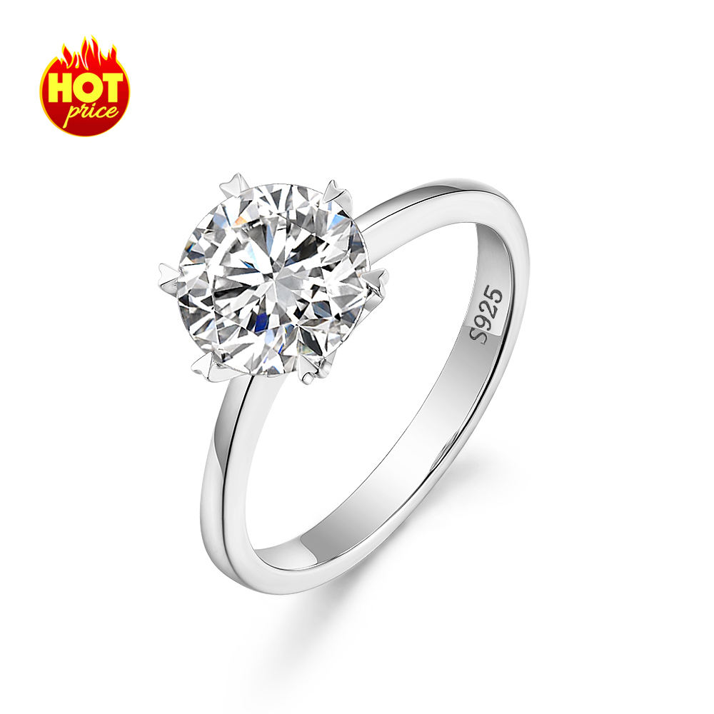 T1 new style 2 carat cz engagement ring fashion custom jewelry women 925 sterling silver ring