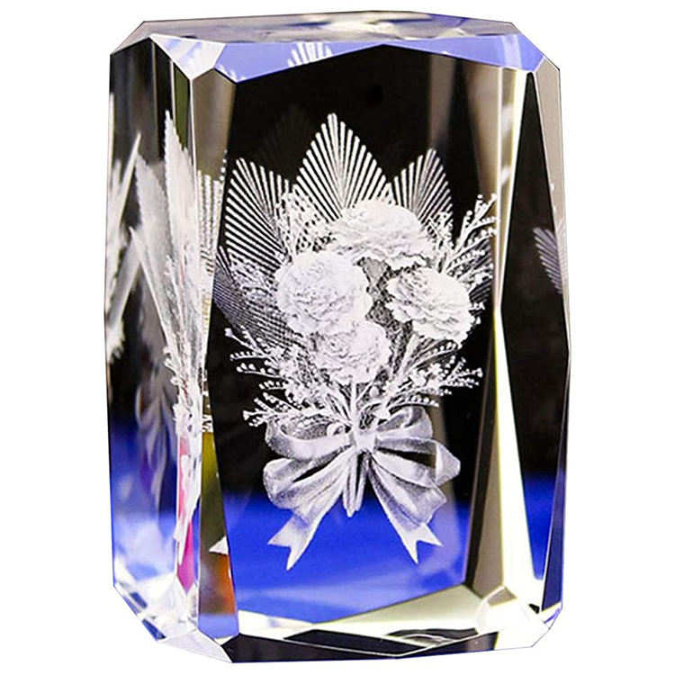 HBL Customize Clear K9 Crystal Block Decorations Customised Artificial Engraved Glass Crystal Machine 3d Laser Cube