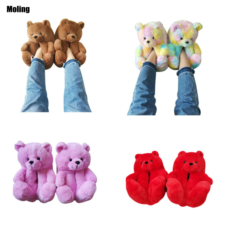 Wholesale Cheap Woman's Kid Bedroom House Fuzzy Soft Fluffy Bear Slip on Shoes Plush Fur Teddy Bear Slippers
