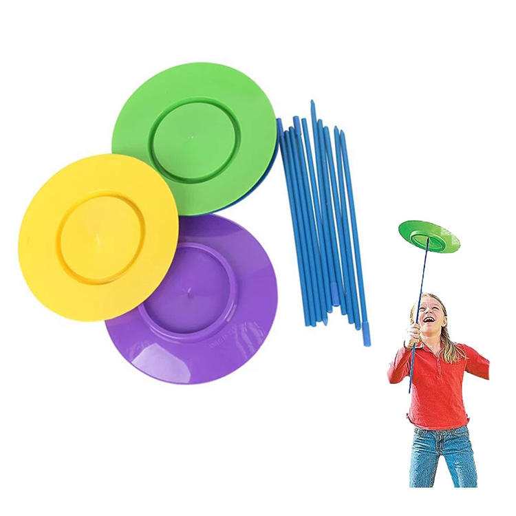 Juggle Plates With Stick For Sport Training Equipment Acrobatic Spin Plate Turntable Boomerang Toy