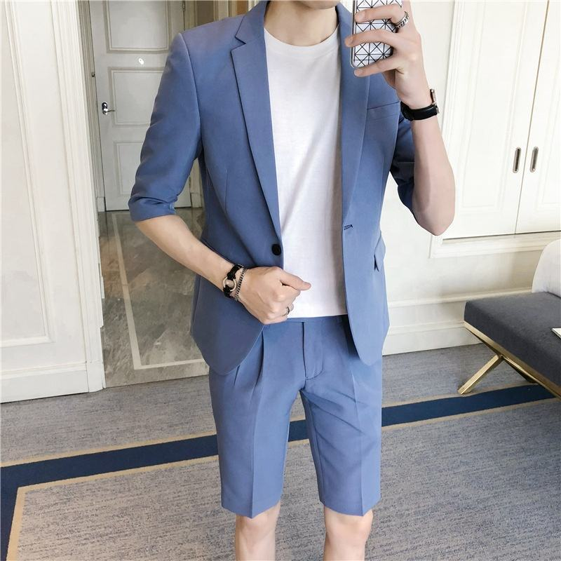 Latest Mens Summer Suit 2 Pieces Half Sleeve Short Pants Men Suits