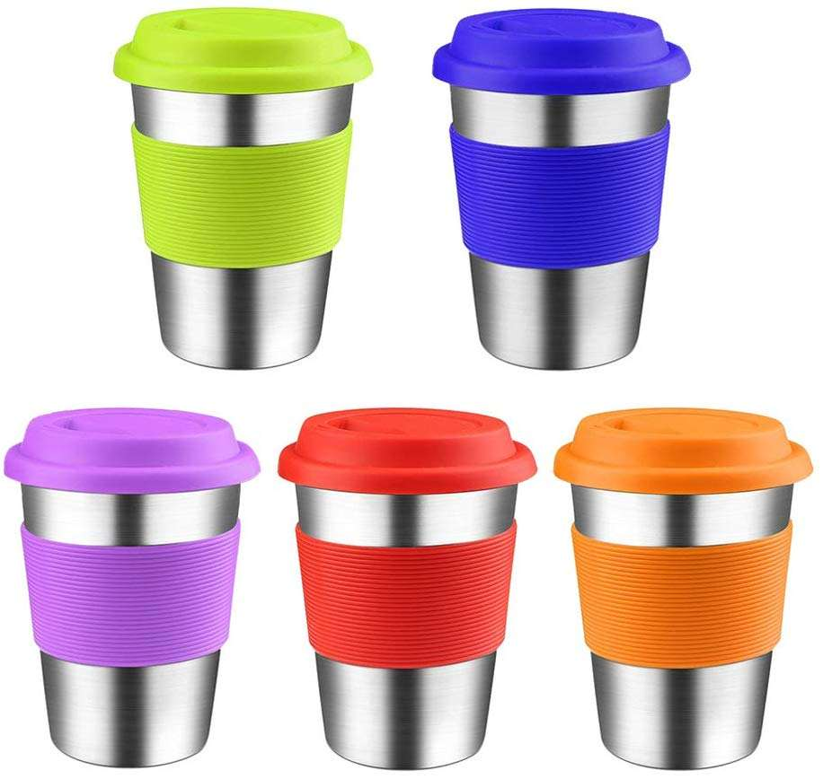 Stainless Steel Kids Sippy Cups with BPA-FREE Silicone Lid and Straw Sleeve 12oz Stackable Metal Drinking Glasses for Toddlers