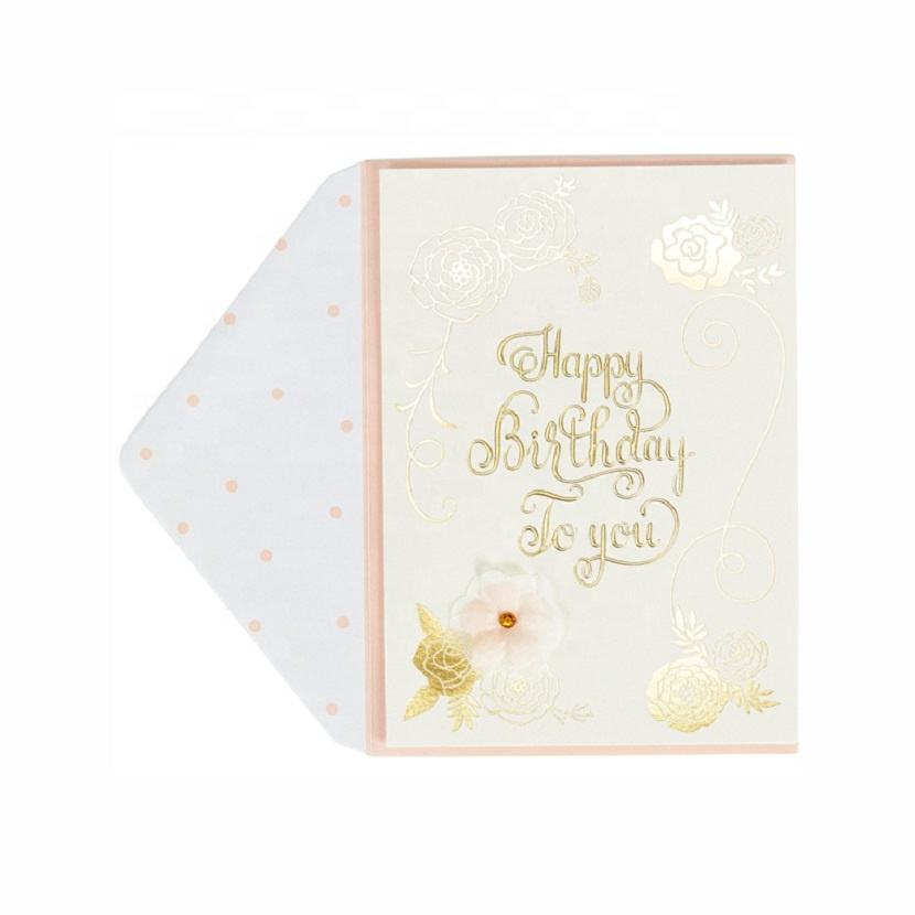 Custom Printed Handmade Happy Birthday Cards, 3D Gold Foil Embossed Greeting Card