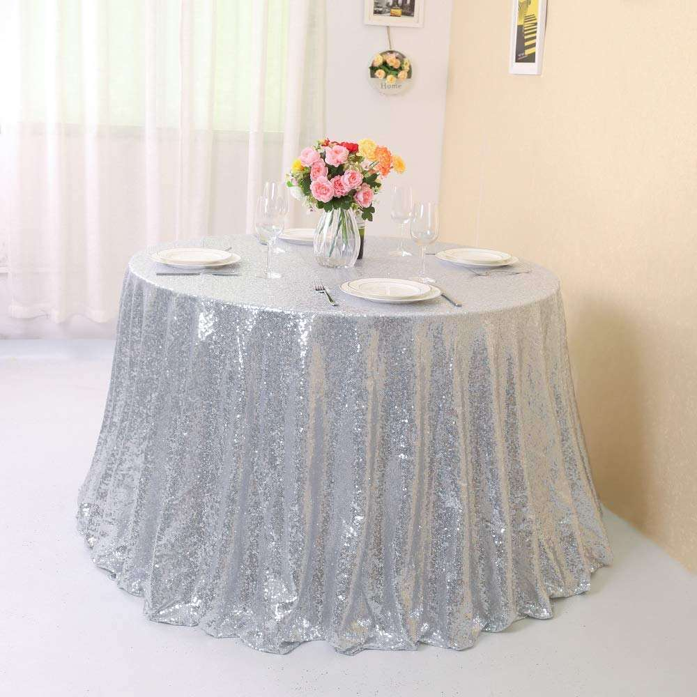 Sequins Overlay 50 Inch Round Silver Color Sequin Tablecloth For Wedding Events